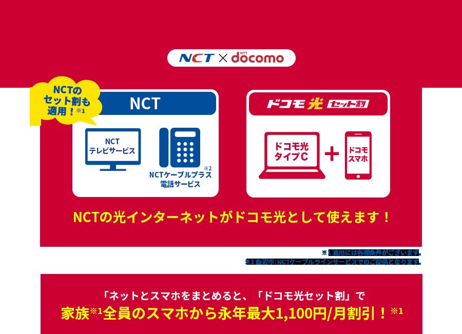 NCTの光インターネットがドコモ光として使えます!「ネットとスマホをまとめると、「ドコモ光セット割」で家族※1全員のスマホから永年最大1,000円/月割引!※2